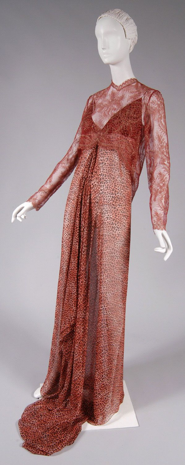 Evening Jacket and Dress, Jacket: brick red and tan lace. Dress: brick red and off-white silk chiffon with small leopard print, James Galanos, c. 1995
