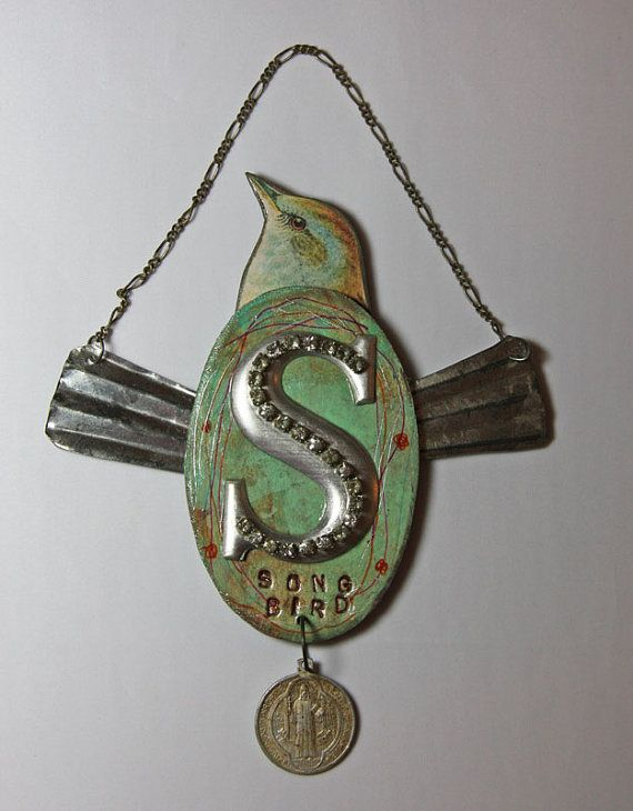 Assemblage Art SONG BIRD repurposed found object by jeanettejanson, $32.00