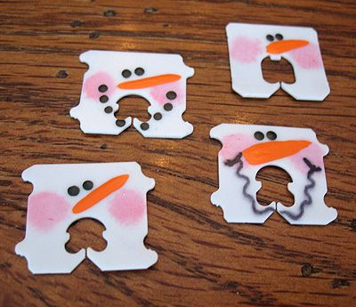 Recycled Bread Tag Snowmen -  Very cute way to seal a gift package of cookies or something similar.