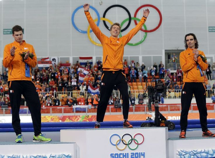 The most dominant team of #Sochi2014 does it again! The Netherlands, (l-r), Sven Kramer, Silver, Jorrit Bergsma, Gold, & Bob de Jong, Bronze, Sweep Men's 10000-m SpeedSkating .... They won 6 of 9 possible Golds on the track since the start of the Winter Olympics, & 19 of 27 Total medals. This is their 4th sweep of #Sochi2014 -- NO nation, in every sport combined, has previously managed more than 2 in any Winter Olympics or more than 5 in its entire history. 2/17/14#Boss