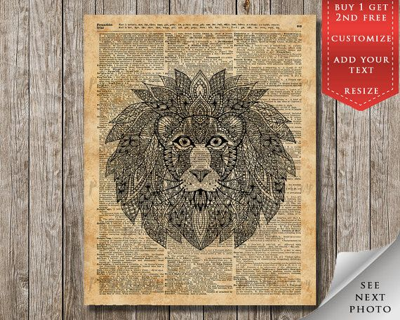 Lion Zentagle Printable Dictionary ArtZen by DictionaryPrintables