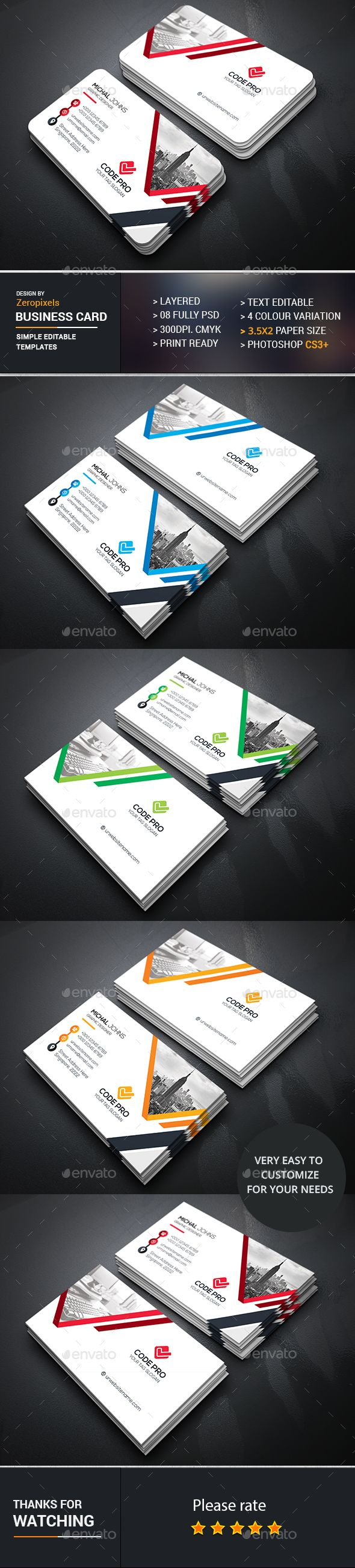 Business Card Design - Business Cards Template PSD. Download here: https://graphicriver.net/item/business-card/16939701?s_rank=171&ref=yinkira