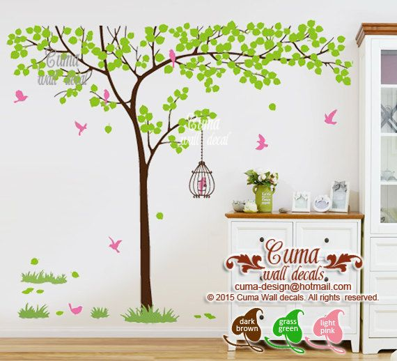 Nature wall decal tree and  birdcage vinyl wall decals by cuma