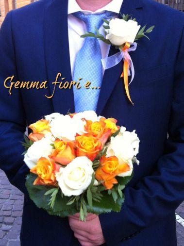 bouquet_bottoniera_matrimonio_corsage_sposi_rose_bianco arancioni_avalanche_marie claire