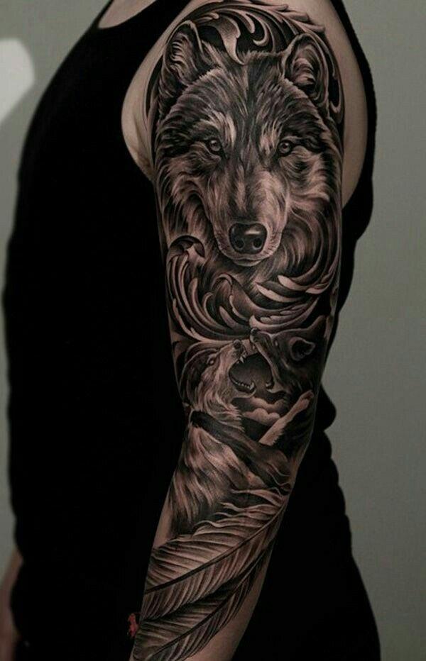 best 25 wolf tattoo sleeve ideas on pinterest forest. Black Bedroom Furniture Sets. Home Design Ideas