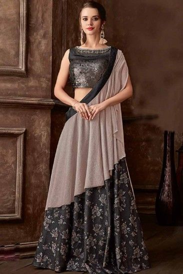 81c3ee1b6f Dark Grey Brocade Lehenga Saree Lycra Blouse - LLCV00542 ...