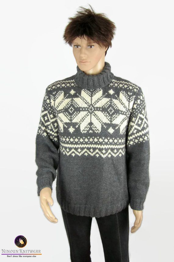 Noorse Trui.Star To Order Man Sweater Turtleneck Merino Wool Hand Knitted