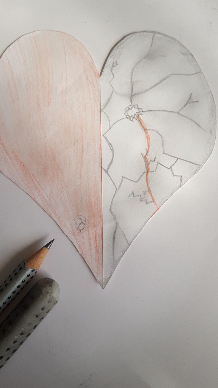 Herz, gebrochen, Bleistift, Zeichnungen, selbst gemacht