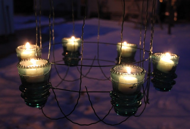 Upcycle chandelier tutorial - insulators, wire flower garden fencing, votives  *********************************************  Ranger911 - #upcycle #repurpose #recycle #chandelier #lighting #candle #DIY #crafts #light #fixture - tå√