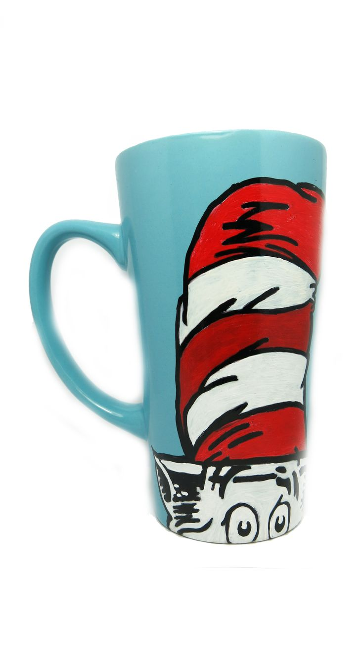 """Hand painted Dr. Seuss Tall Blue Mug. It features a hand painted drawing of Dr Suess and on the other side is a quote which says """"Be who you are and say what you feel because those who mind don't matter and those who matter don't mind.""""   https://www.etsy.com/au/shop/CoralBel"""