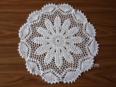 Ажурная салфетка - работа Галины вязание и схемы вязания