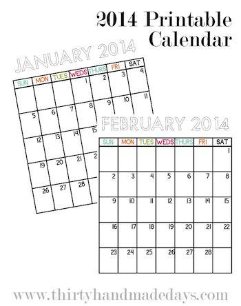 32 best calendars: free printable 2014 images on Pinterest