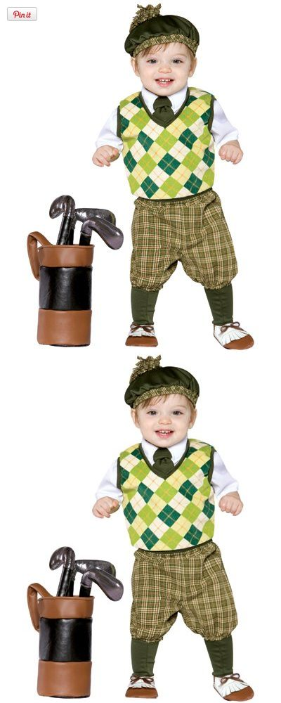 Kids Golf Costume - Golf Clothes for Kids (2-4T), Baby or toddler golf clothes costume includes golf beret, golf shirt, golf pants, golf shoe covers, kid size golf bag and soft golf clubs. Makes a great costume for little golf lovers or their parents..., #Apparel, #Baby Boys