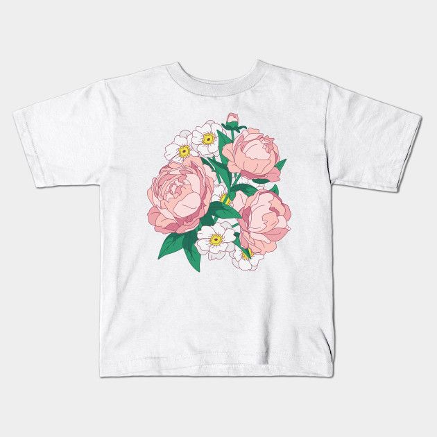 Bouquet Of Pink Peonies Kids T Shirt By Lents Lustige Kleidung