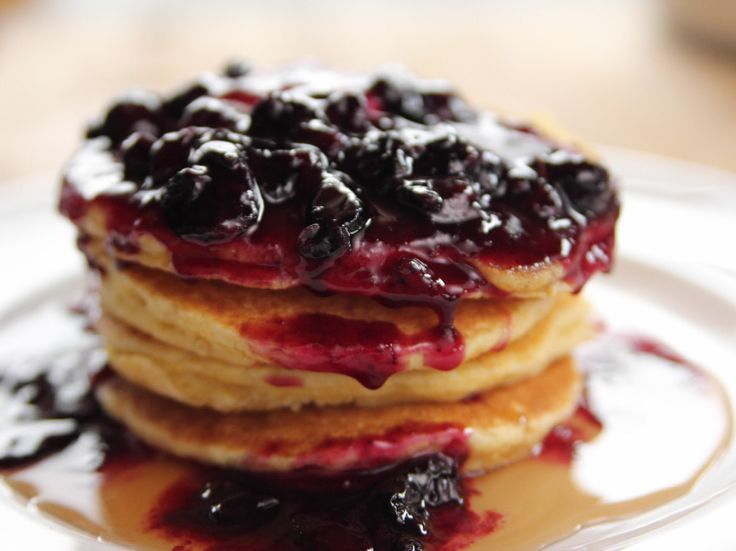 Cornmeal Pancakes with Blueberry Syrup recipe from Ree Drummond via Food Network