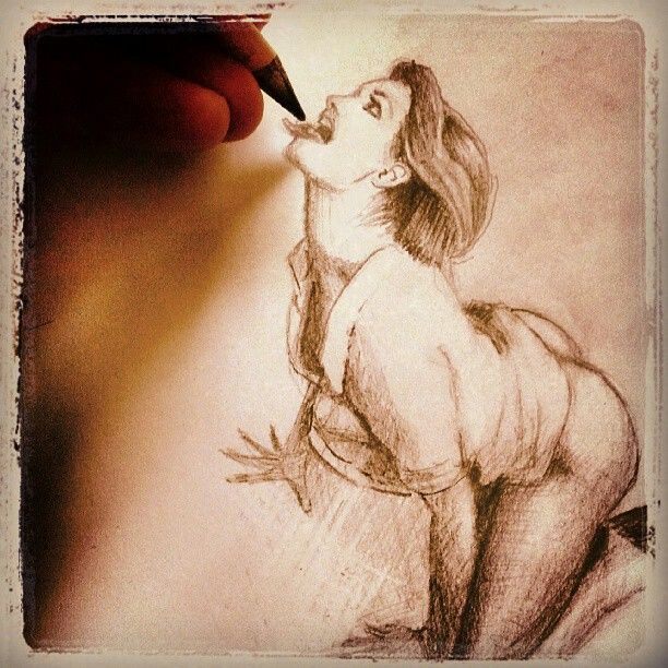 """""""Blowdraw"""" humorous perspective/optical illusion pencil sketch exercise."""