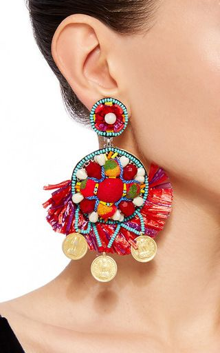 These **Ranjana Khan** earrings feature a circle drop design embellished with beaded and fabric details with raffia fringe trim and draped Indian gold plated coins.