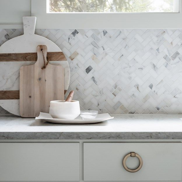 Calacatta Borghini Herringbone Mosaic Tile In Honed Finish. Perfect For  This Lovely Kitchen Backsplash,