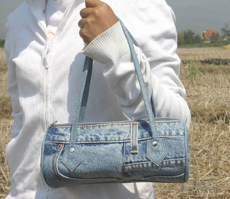 Recycled Jeans Crafts   bangkok fashion bag made from recycled denim jeans each bag