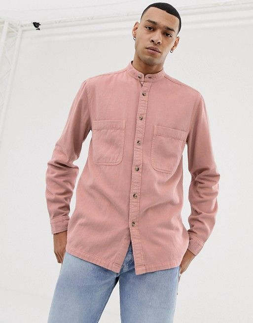 0ea79c9b DESIGN overshirt with grandad collar in pink in 2019 | Fashion | ASOS,  Fashion, Design