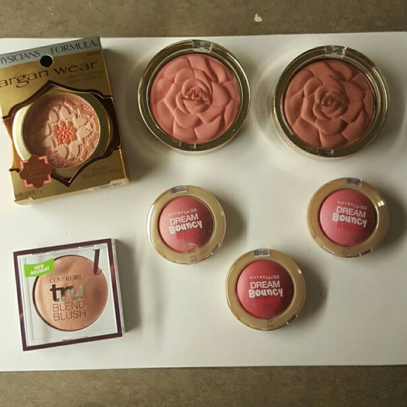 Blush Bundle! Blush Bundle  All new unopened and unused!  Includes Physicians Formula Blush in natural, Covergirl Tru Blend Blush in Light Rose, Maybelline Dream Bouncy Blush in 5, 10, and 40, and Milani Powder Blush in Romantic Rose and Tea Rose No trades please! Physicians Formula, Maybelline, Covergirl, and Milani  Makeup Blush