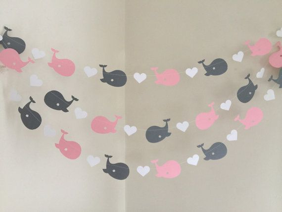 Pink and Gray Whale Banner / Whale baby shower Decorations / Pink Whale Nursery Decor / Nautical Girl Baby Shower Garland / Custom colors