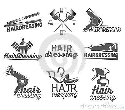 Grupo do vetor de etiquetas do cabeleireiro no estilo do vintage Beleza e barbearia, tesouras, lâmina