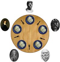 """Image: The """"Dining Philosophers"""", a classic problem involving concurrency and shared resources. Concurrency (computer science) - Wikipedia. A property of systems in which several computations are executing simultaneously, and potentially interacting with each other. The computations may be executing on multiple cores in the same chip, preemptively time-shared threads on the same processor, or executed on physically separated processors."""