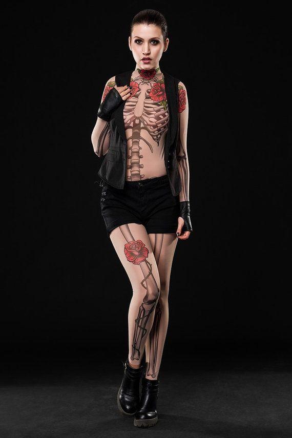 TATTOO SKELETON Bodysuit & Leggings SET, Skeleton Costume, Halloween Bodysuit, Halloween Clothes Set, Mesh Bodysuit, Pretend Tattoo Costume