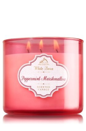 """Peppermint Marshmallow - 3-Wick Candle - Bath & Body Works - The Perfect 3-Wick Candle! Made using the highest concentration of fragrance oils, an exclusive blend of vegetable wax and wicks that won't burn out, our candles melt consistently & evenly, radiating enough fragrance to fill an entire room. Candle comes in beautiful colored glass with a silver lid! Burns approximately 25 - 45 hours and measures 4"""" wide x 3 1/2"""" tall."""