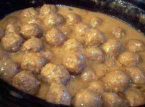 Sarah's version: French Onion Meatballs. Use 2 Campbells cream of mushroom soup, 2 cans water, Campbells French onion soup and lipton onion mushroom dry soup mix with 3 lb frozen meatballs. I'd say add 1 more can of water/cream of mushroom bc low on sauce.
