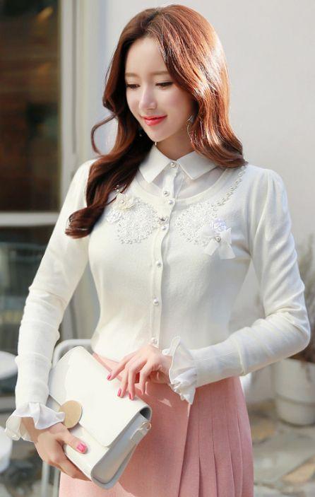 StyleOnme_Lace and Pearl Decorated Round Neck Cardigan #white #sweet #feminine #lace #pearl #cardigan #koreanfashion #spring #kstyle #kfashion