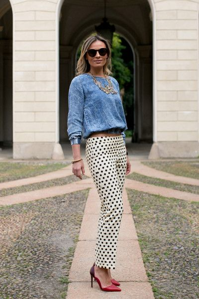 washed chambray is the perfect balance to these classy polka trousers #streetstyle