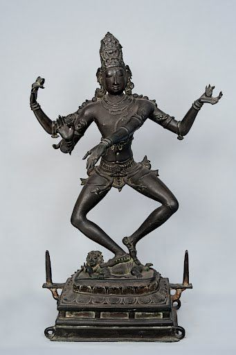 It is the most outstanding bronze image of Nataraja in chatura-tandava  posture from Tiruvarangulam. The three eyed and four armed Siva is dancing  with the ...