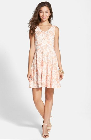 Frenchi® Frenchi Floral Appliqué Skater Dress (Juniors) available at #Nordstrom
