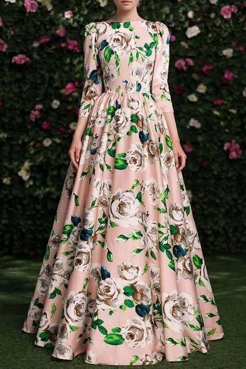 Женственные платья макси с цветочным принтом 5
