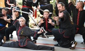 Black-sash-level instructors train students in traditional kung fu and tai chi styles with a focus on wrestling, sparring, and self-defense