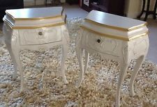 Pair Antique White  & Gilt Bombe Style Bedside/Table Cabinets French Louis style   – revamp furniture