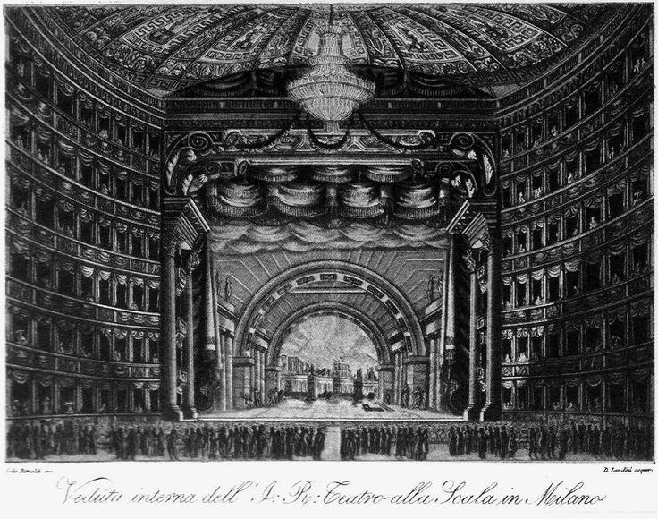 """Scenic design by Giovanni Sanquirico for Giovanni Pacini's """"L'ultimo giorno di Pompei"""" (1825), 1827."""