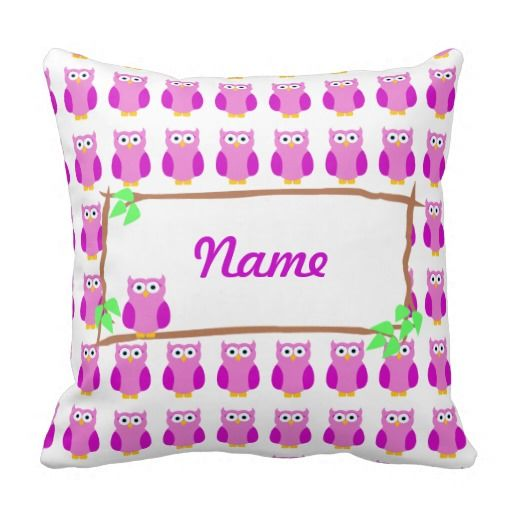 Personalize Purple Owls On A Tree Branch Pillow