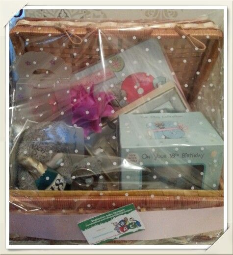 18th birthday hamper filled with keepsakes. Can make for any age or celebration.