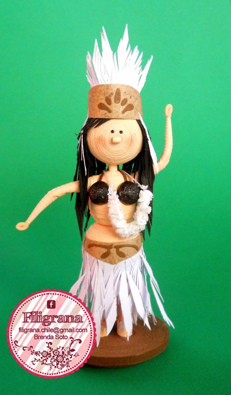 Filigrana - Quilling en Chile: Bailarina Pascuense filigrana - quilling 3D