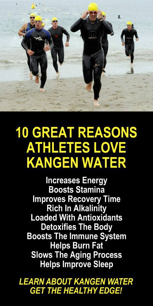 10 Great Reasons Athletes Love Kangen Water. Learn about the hydrogen rich, antioxidant loaded, ionized water that neutralizes free radicals that cause oxidative stress which allows your body to perform at an optimal level. Increase energy, boost stamina, improve recovery time, burn fat, and lose weight more efficiently. LEARN MORE #Athletes #Performance #Kangen #Alkaline #Antioxidants #Water #Benefits