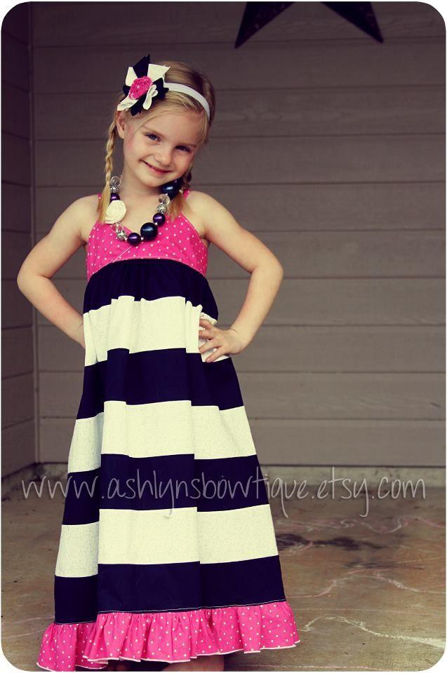 Girls Stripwork Maxi Dress PDF Pattern