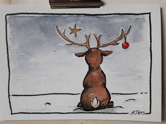 hand-painted Christmas greeting as a digital download
