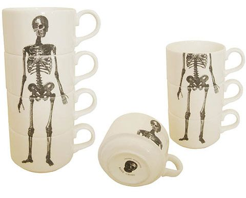 I found Phoebe Richardson's great coffee cups through Wolf and Badger, a London boutique that stocks emerging designers. I'm loving the cool stackable skeleton, in particular.: Skeletons Cups, Teas Time, Cups Stacking, Teas Cups, Skeletons Espresso, Bones, Espresso Cups, Skeletons Teas, Teacup