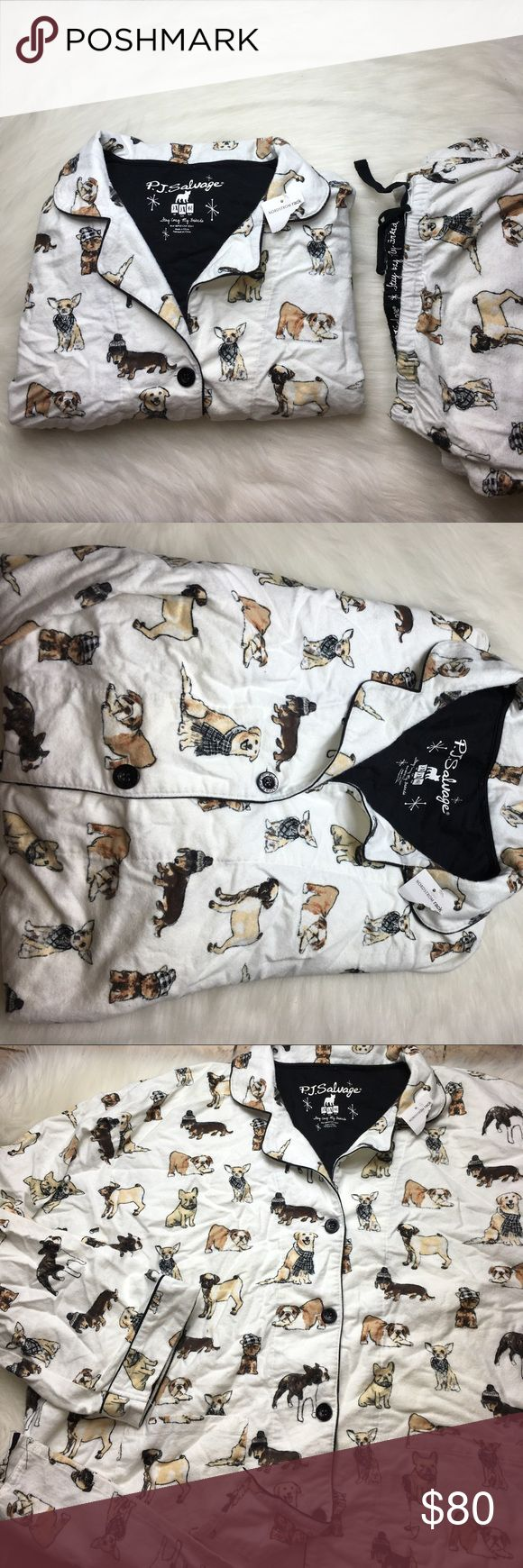 SALE PJ SALVAGE DOG LOVER PAJAMA SET SIZE 3X Super cute and new and flawed! Slightly Ripped near tie front. Want to save more? Bundle and save on shipping. PJ Salvage Intimates & Sleepwear Pajamas
