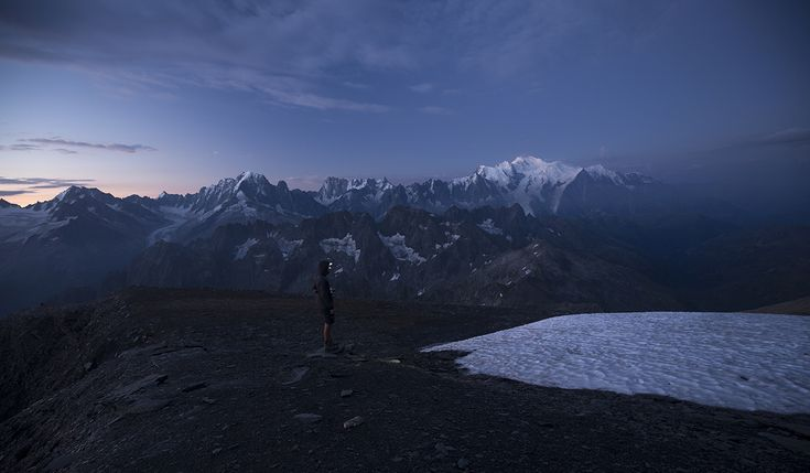 Climb up to 3000 meters on top of Mont Buet and set up camp for the night in front of the Mont-Blanc mountain range