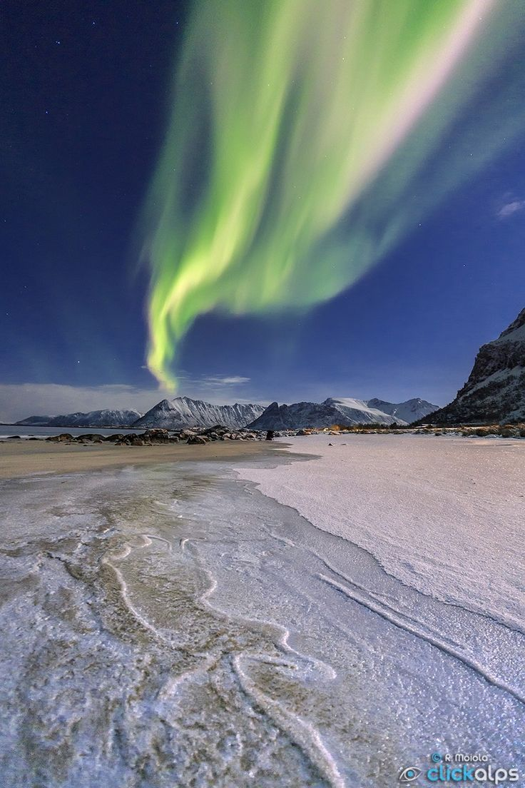 According to a folk tale, an arctic fox is running far in the north and touching the mountains with its fur, so that sparks fly off into the sky as the northern lights. Gymsøyand, Lofoten Norway