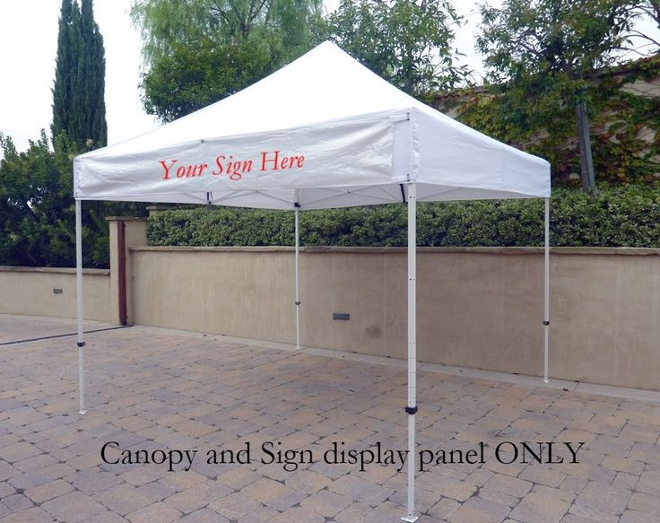 EZ Up 10x10 Gazebo Tent Canopy Replacement Canopy Top.  W/Detachable Sign Display Panel and Flag Pole Holder.  White